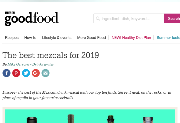 Our Tobalá on BBC Good Food's best mezcal list